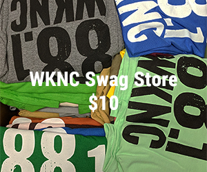 WKNC logo T-shirts in a variety of colors for sale from the WKNC swag store for $10