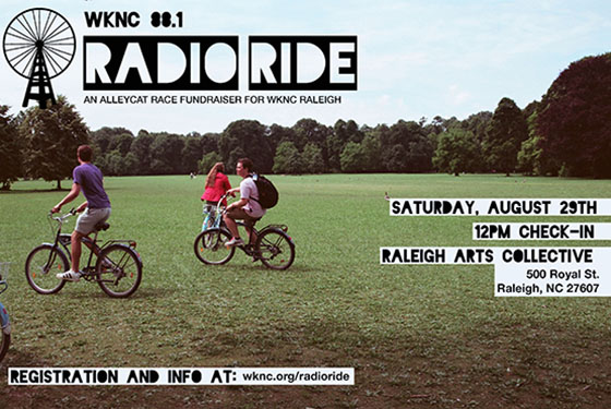 WKNC Radio Ride Saturday, August 29 at Raleigh Arts Collective