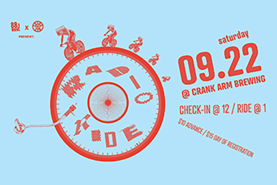 Radio Ride Saturday, Sept. 22 at Crank Arm Brewing