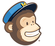 Mail Chimp monkey head wearing a blue hat with the letter M on it