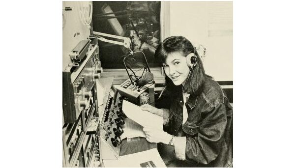 Katie van Leuven in the WKNC news room. Photo from 1987 Agromeck by Mark S. Inman.