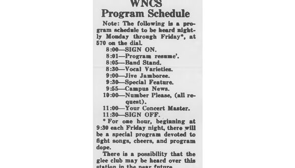 WNCS program schedule, published in Oct. 18, 1946 Technician.