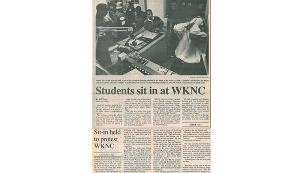 Around 65 students staged a sit-in at the WKNC studios to protest for more hours for urban music programming. Article published in Nov. 18, 1992 Technician.