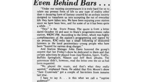 WKNC has always been popular in Central Prison, located about two miles from the station down Western Boulevard. Article published in Oct. 22, 1969 Technician.