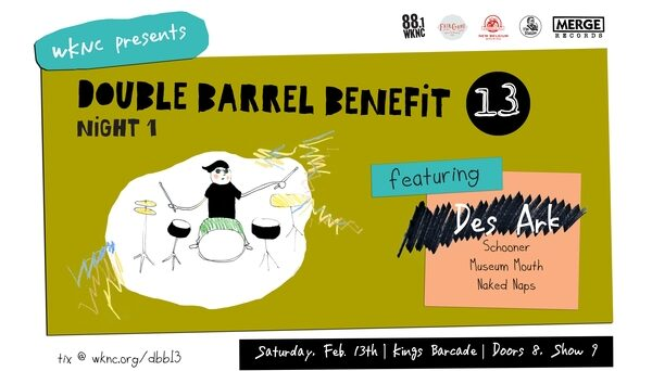 Double Barrel Benefit 13 night one poster designed by Virginia Li