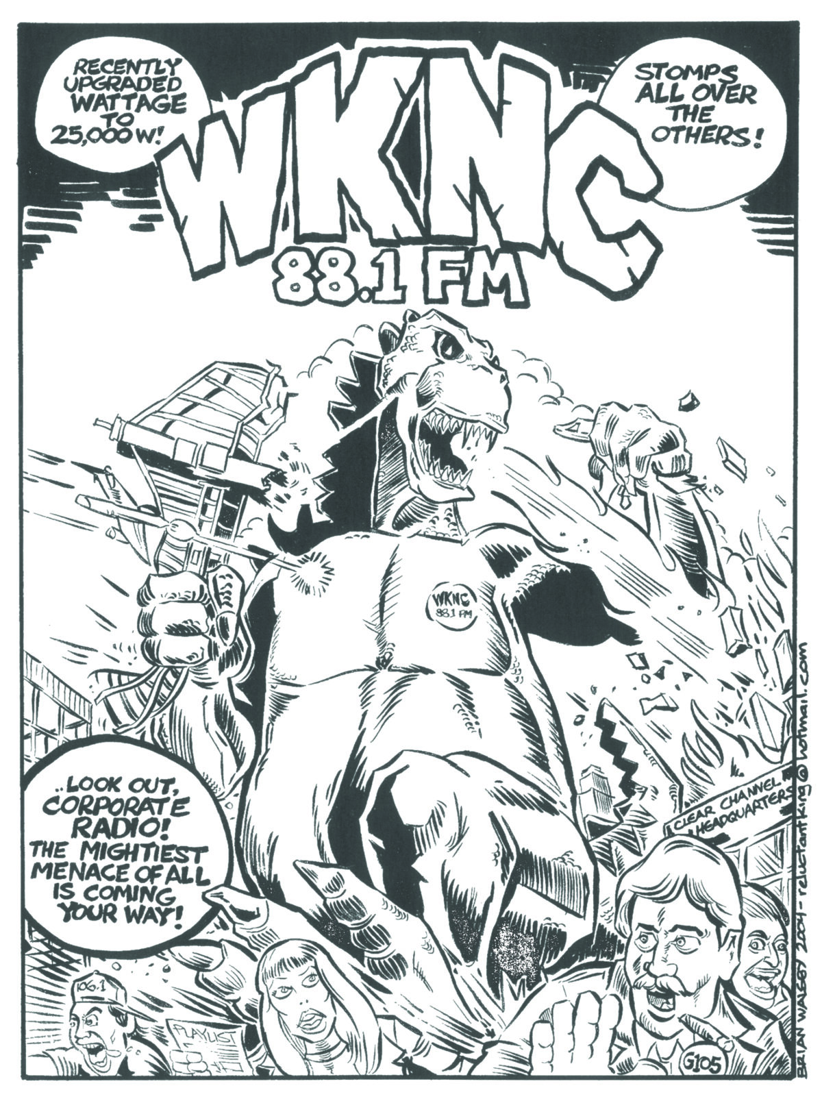 Cartoonist Brian Walsby designed this ad for the April 2004 Raleigh Hatchet magazine. WKNC purchased usage rights in 2014.