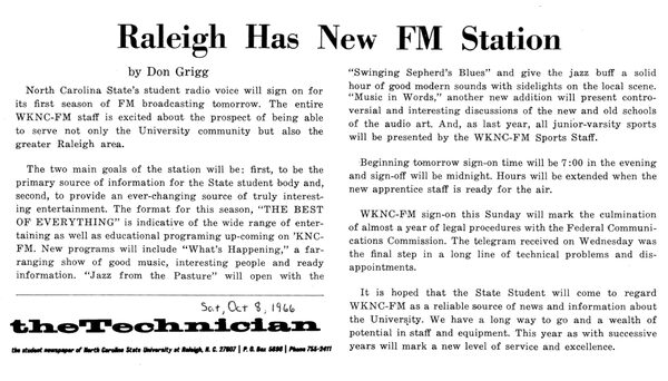 WKNC signed on at 88.1 FM on Oct. 9, 1966. Article from Oct. 8, 1966 Technician.