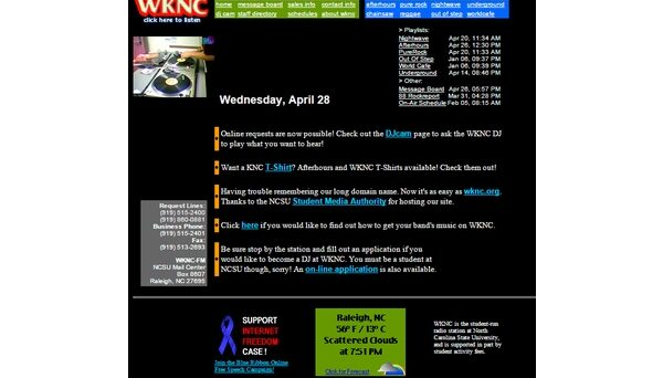 WKNC.org. Image recreated from Internet Archive, April 28, 1999.