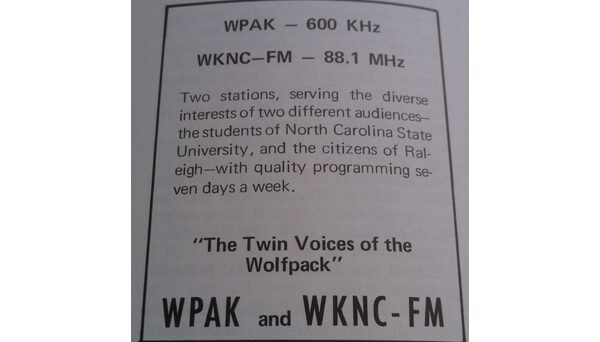 Ad for WKNC/WPAK in the 1968-1969 Journal of College Radio.