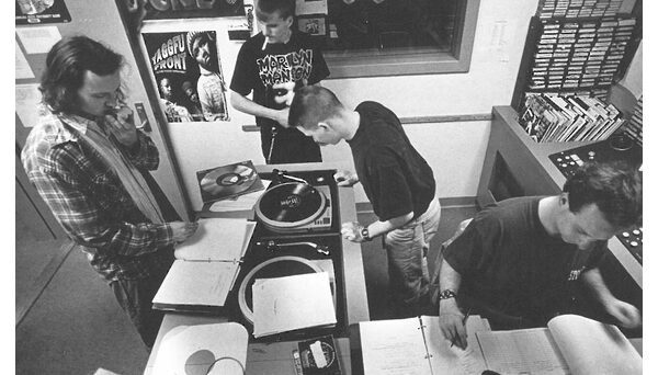 WKNC staff in studio. Photo from 1995 Agromeck.