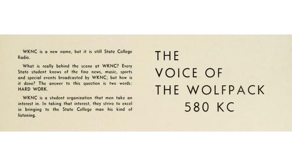 WVWP-AM changed to WKNC-AM in 1958. Page from 1959 Agromeck.