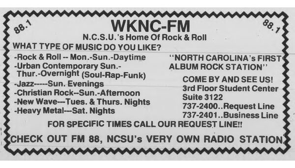 Programming ad published in 1986 Technician freshmen special.