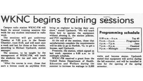 Article published in Sept. 8, 1975 Technician outlining the WKNC training process. A formal announcer training program dates back to at least 1959.