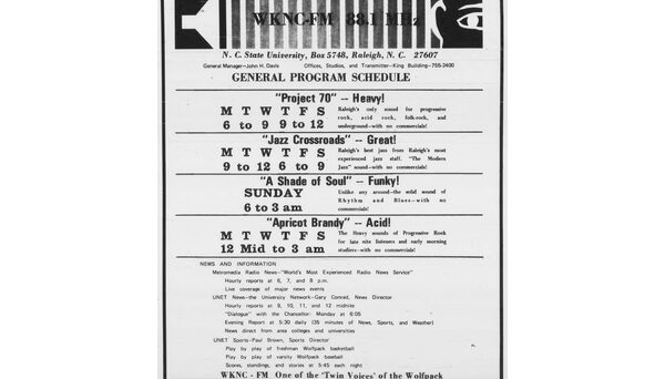 WKNC/WPAK program schedule, published in Feb. 4, 1970 Technician.