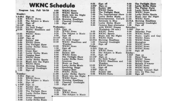 Program schedule published in Oct. 16, 1958 Technician. The station signed on and off several times throughout the weekday.