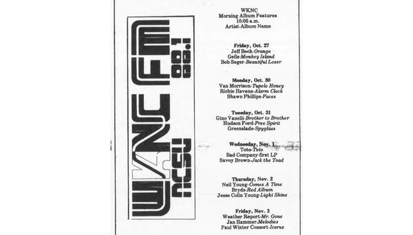 WKNC's new progressive rock format featured a two-hour album feature every weekday. Schedule published in Oct. 27, 1978 Technician.