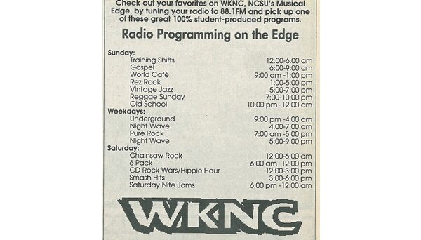 WKNC program schedule published in Aug. 24, 1994 Technician.