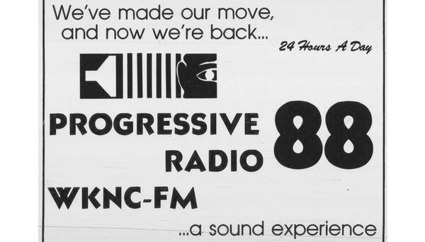 After moving to new studios in the new University Student Center, WKNC signs on to broadcast 24 hours a day for the first time. Ad published in Sept. 25, 1972 Technician.