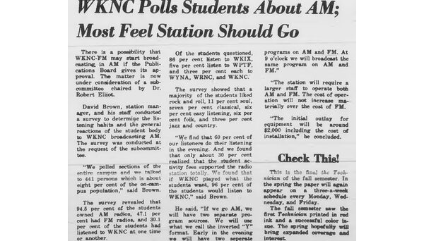 Article published in Jan. 8, 1968 Technician detailing while 95% of students had AM radios, less than half owned an FM radio to listen to WKNC 88.1.