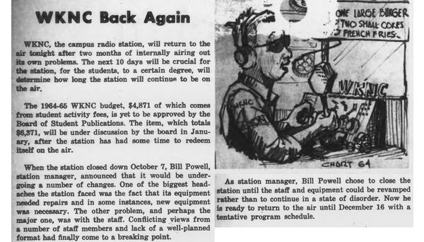 Editorial and cartoon from the Dec. 7, 1964 Technician. WKNC had just returned to the air after being shut down for two months due to equipment and staffing issues.