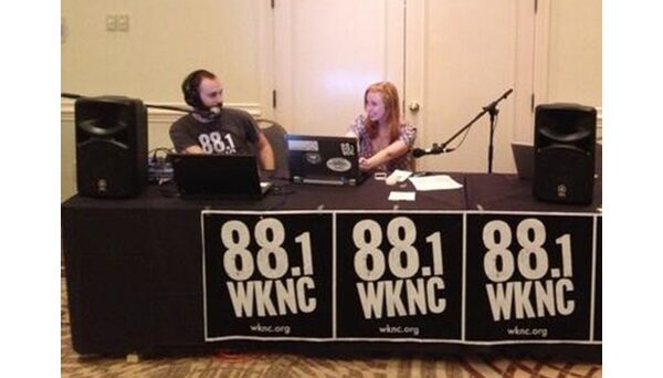 Program Director Michael D'Argenio and General Manager Bri Aab broadcast live from Wristband City during the 2013 Hopscotch Music Festival. WKNC has been a media sponsor of Hopscotch since its inception.