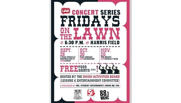 WKNC's on-campus concert series Fridays on the Lawn started in fall 2009. Poster design by Kirsten Southwell.