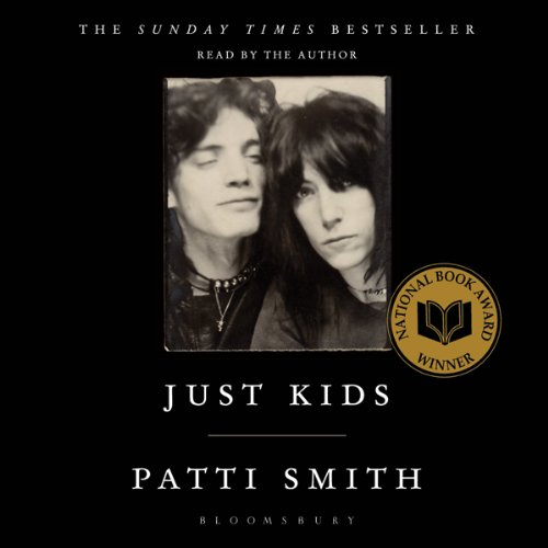 Just Kids book cover, Patti Smith and Robert Mapplethorpe polaroid against black background.