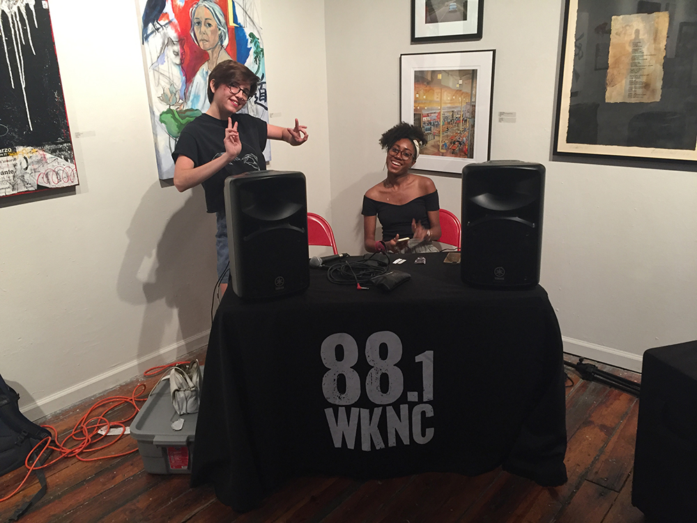 WKNC DJs Emily Ehling and Ashley Darrisaw provide DJ services for the Windhover release party