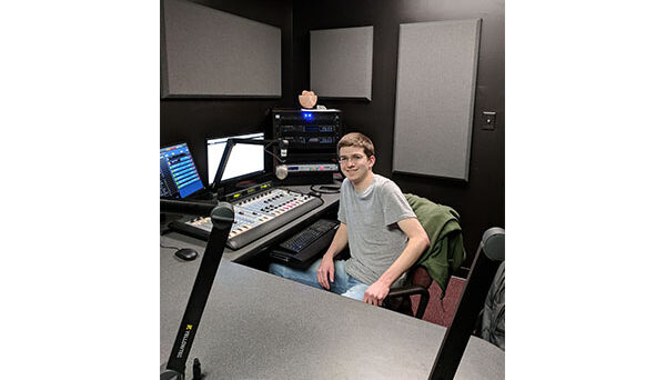 "Jacob DeCicco hosts the first regular DJ shift in WKNC's ""Studio H."" Named for NC State student radio's first general manager Harrison Wroton, the studio splits its time between a production studio and HD-2 air studio. Photo by Jamie Lynn Gilbert"