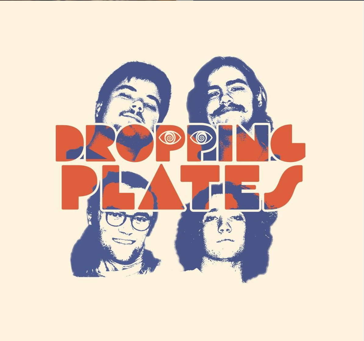 Dropping Plates logo with all four band members photographed in blue