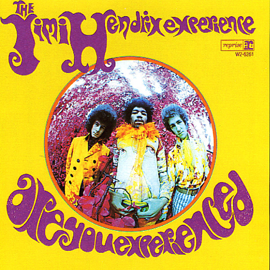 """Are You Experienced"" Album Cover, Jimi Hendrix Band in fish eye lens with yellow background"