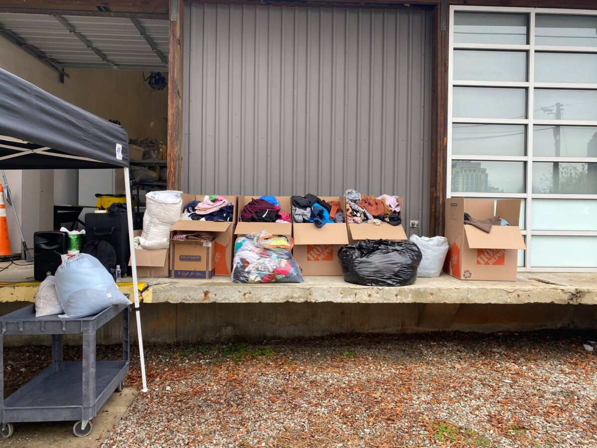 Multiple boxes and bags donated to WKNC's Winter Clothing Drive on Jan. 3.