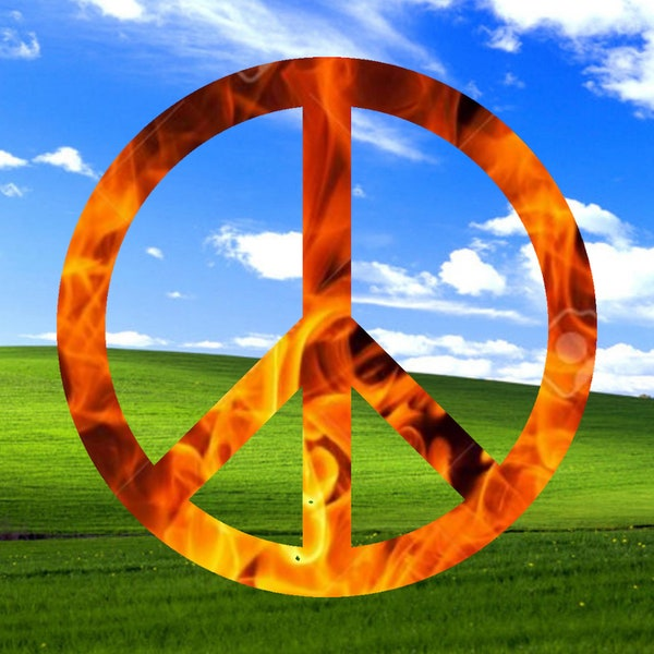 An album cover with a fiery peace sign over a green field