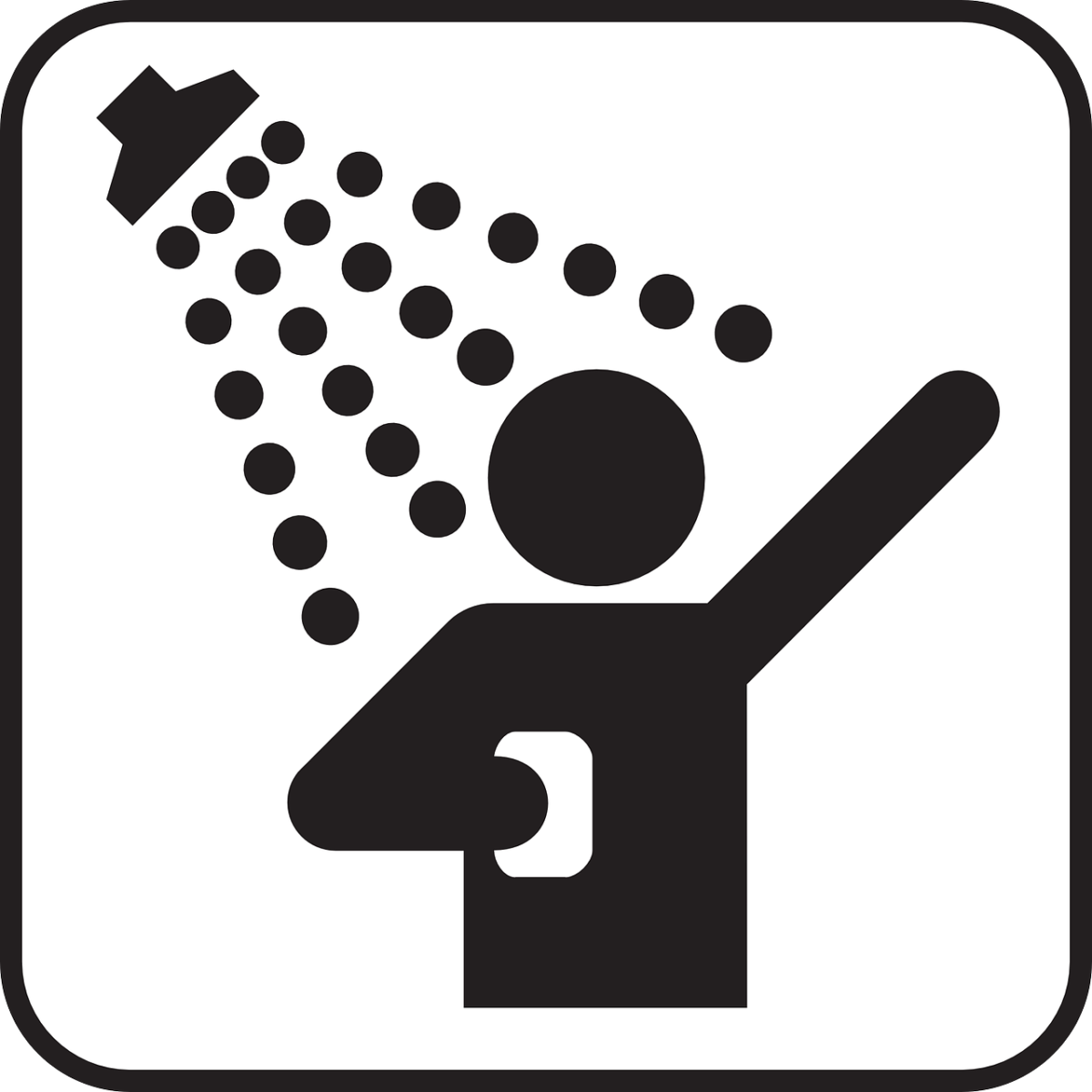 Black and white graphic of someone showering.