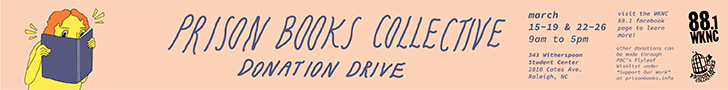 Prison Books Collective Donation Drive March 15-19 and March 22-26, 9 a.m. to 5 p.m. at 343 Witherspoon Student Center