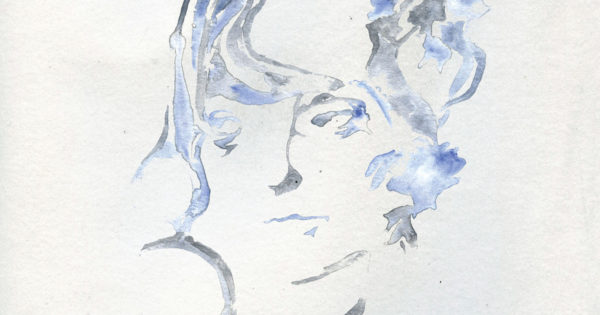epic Ten album cover. A watercolor self portrait amid a white background.