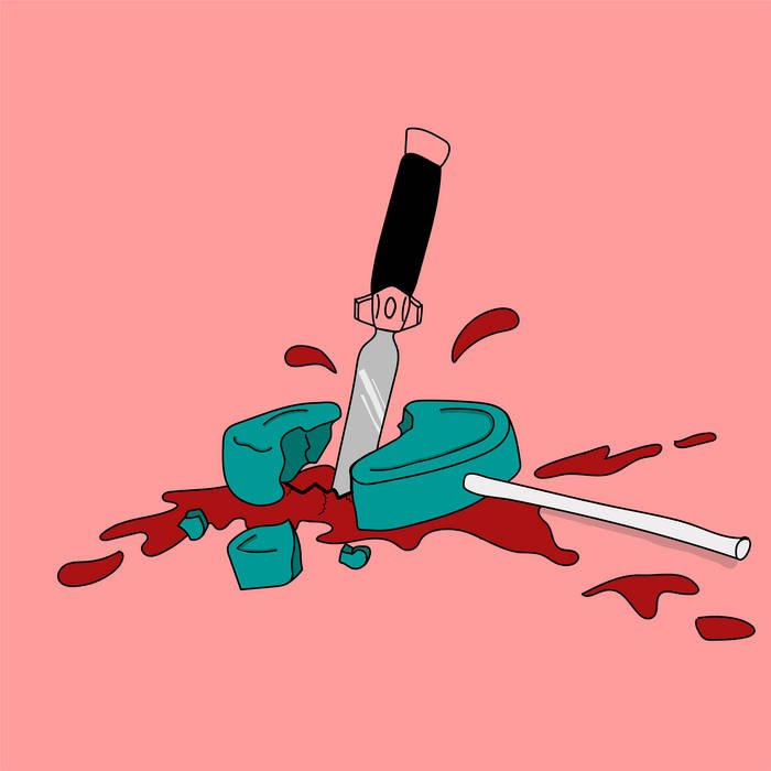 Graphic with a knife splitting through a lollipop.
