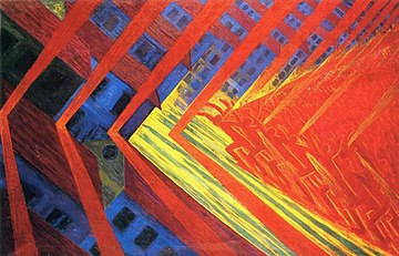 A painting in the style of modernism with an angular wash of red and blue colors forming an imposing pattern