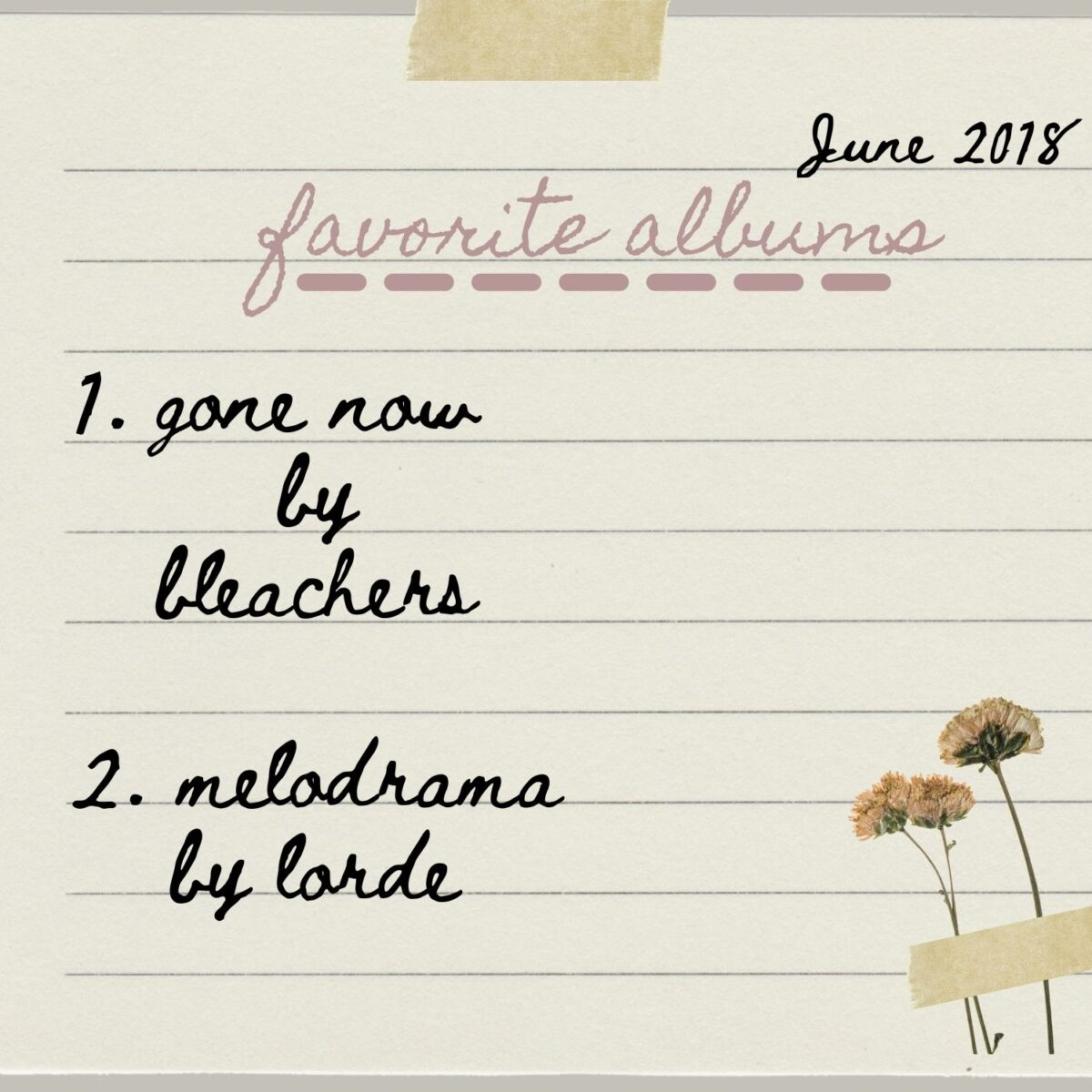 Favorite Albums, dated June 2018, 1. gone now by bleachers 2. melodrama by lorde