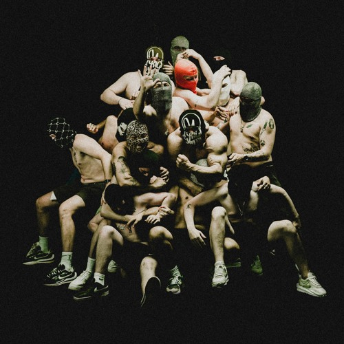"""Cover for the """"Sadism"""" single. A large group of half-naked men with tattoos in ski masks piling on top of each other"""