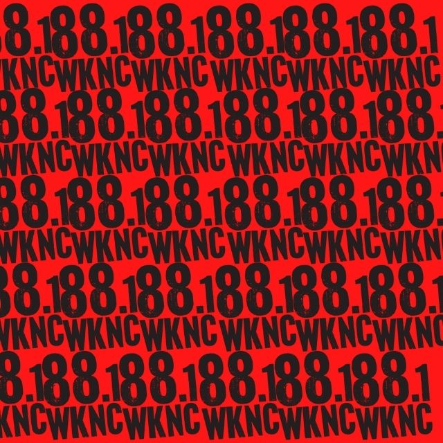 Red background with the WKNC 88.1 logo repeated over and over,
