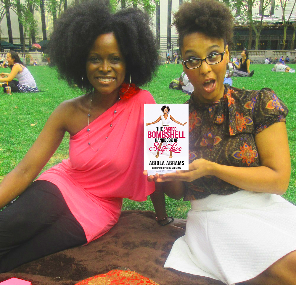 Abiola Abrams and Brittney Walker with the Sacred Bombshell Book