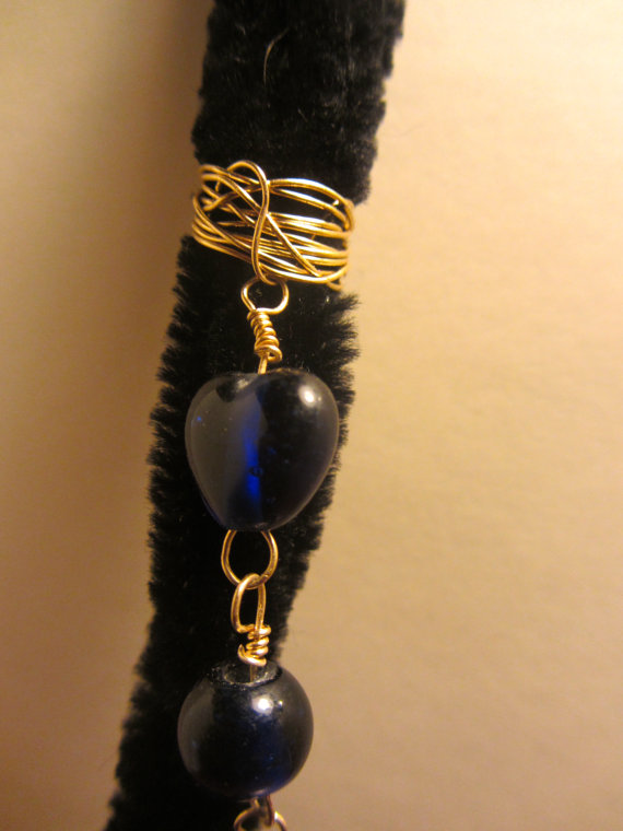 Blue Heart Bead Gold Wire Wrapped Spiral for Dread Locs