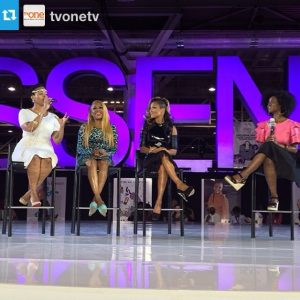 """Abiola moderating a panel for TV One Network in New Orleans with the """"R&B Divas of LA,"""" singers. Chrisette Michele, Chante Moore, and Lil Mo."""