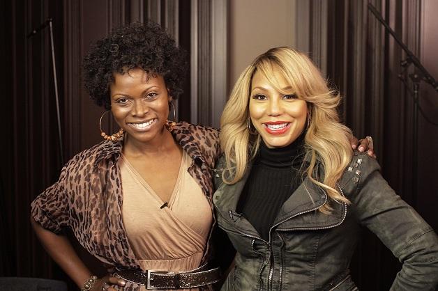 Abiola Abrams and Tamar Braxton smiling