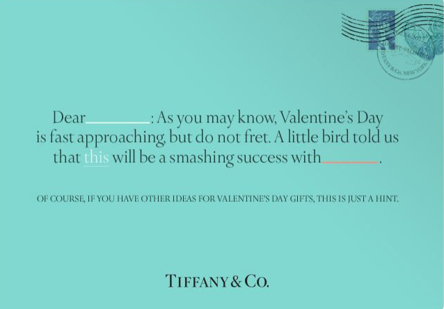 """Happy Valentine's Day """"Hint"""" Reminder Postcard from Tiffany and Co"""
