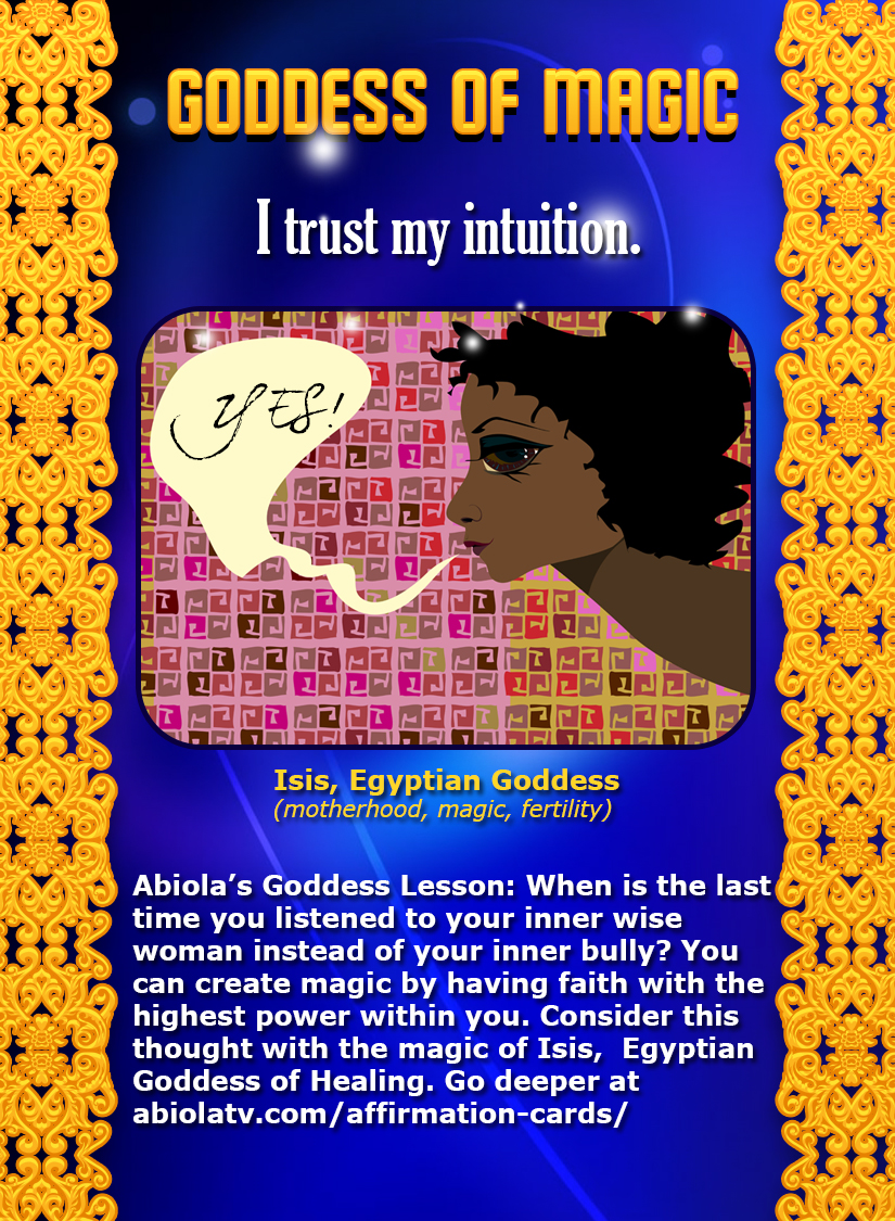 Goddess Affirmation Card with Isis, Egyptian Goddess of Motherhood, Magic, Fertility