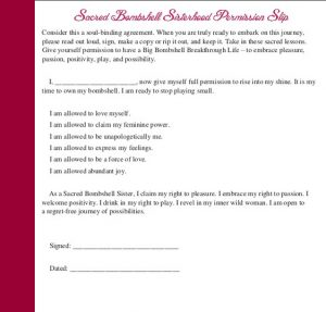 sacred bombshell self-love permission slip from abiola