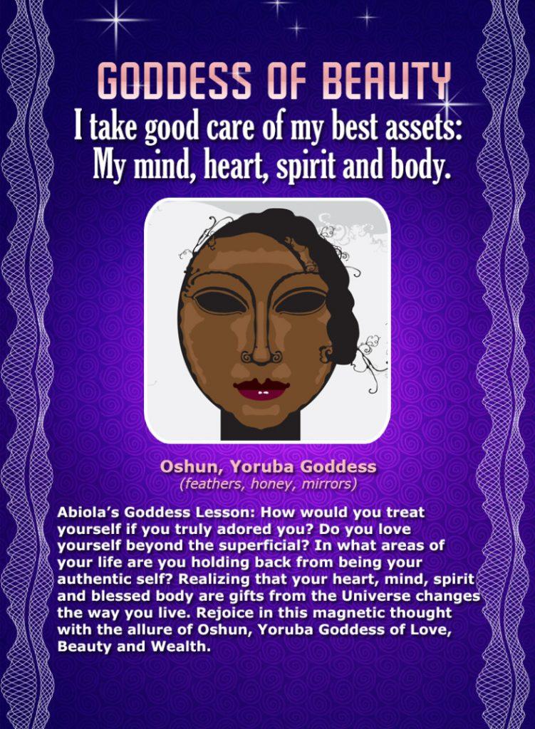African Goddess Affirmation Card: Oshun, Goddess of Beauty