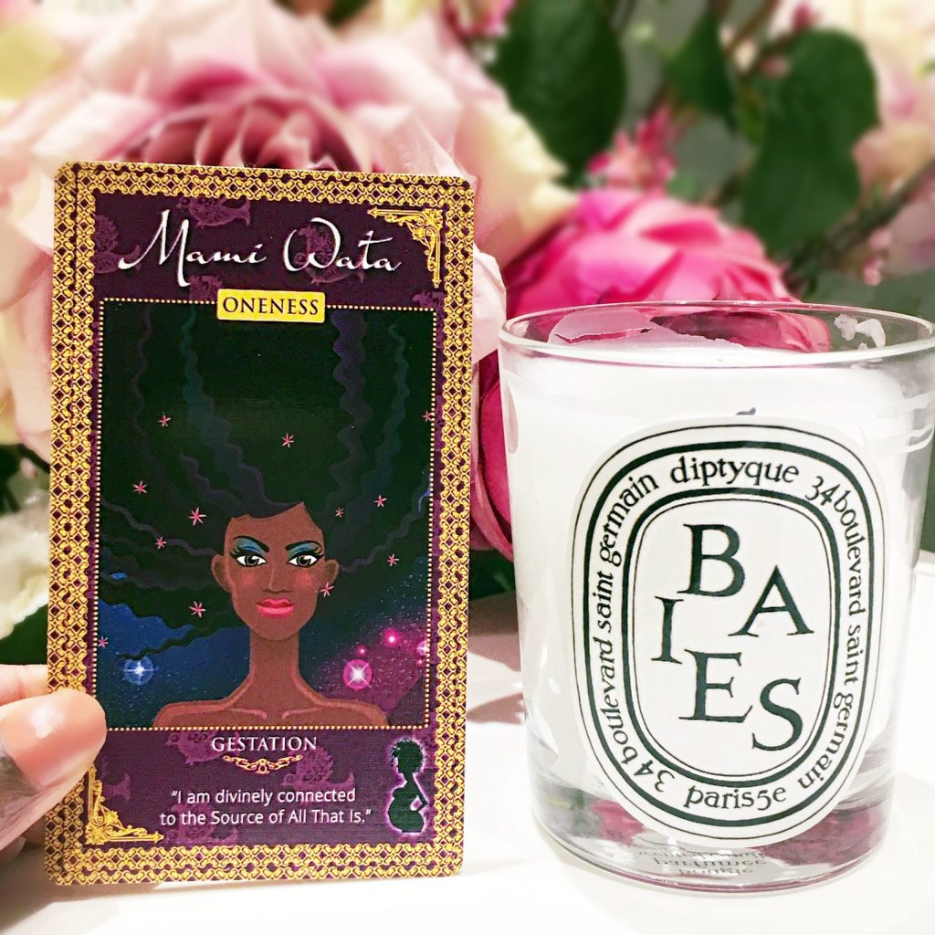 womanifesting fertility goddess affirmation cards diptyque candle mami wata